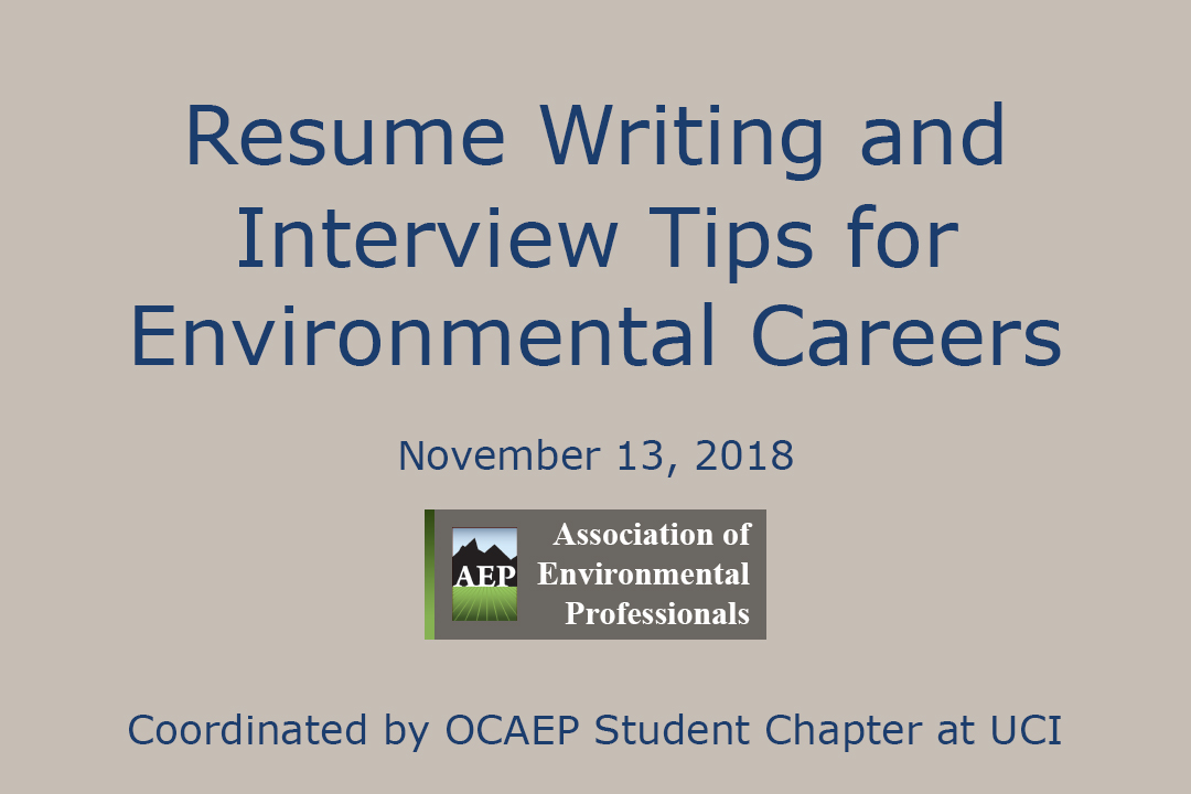 Resume Writing And Interview Tips For Environmental Professionals University Of California Irvine Urban Planning And Public Policy